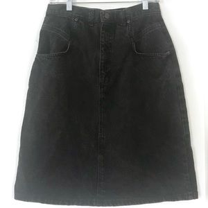 Vintage 1980's black denim high waisted jean skirt